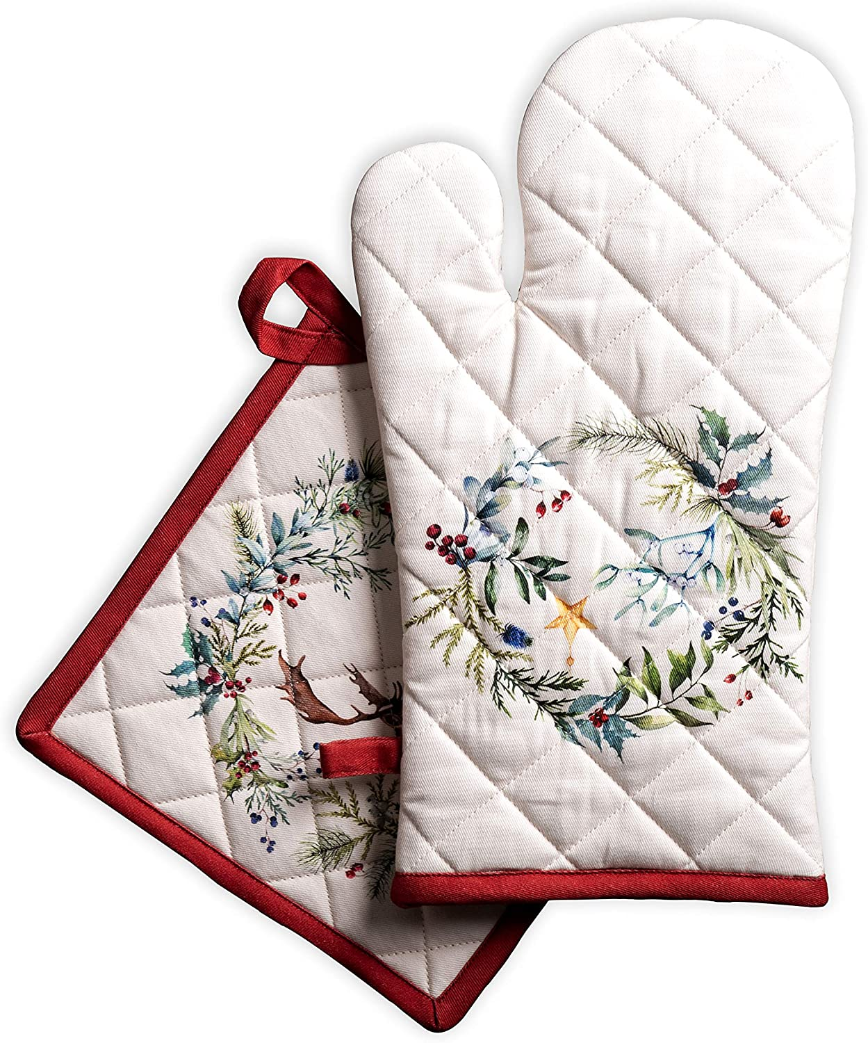 Maison d' Hermine Holly Time 100% Cotton Set of Oven Mitt (7.5 Inch by 13 Inch) and Pot Holder (8 Inch by 8 Inch). Perfect for Thanksgiving and Christmas