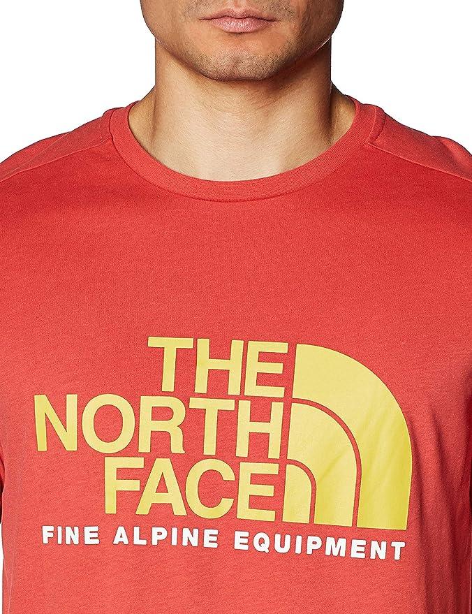 The North Face - Camiseta de hombre de algodón rojo salmón