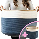 "Little Hippo 2pc XXXL Large Cotton Rope Basket (22""x14"") 100% Natural Cotton! Rope Basket, Woven Storage Basket, Large…"