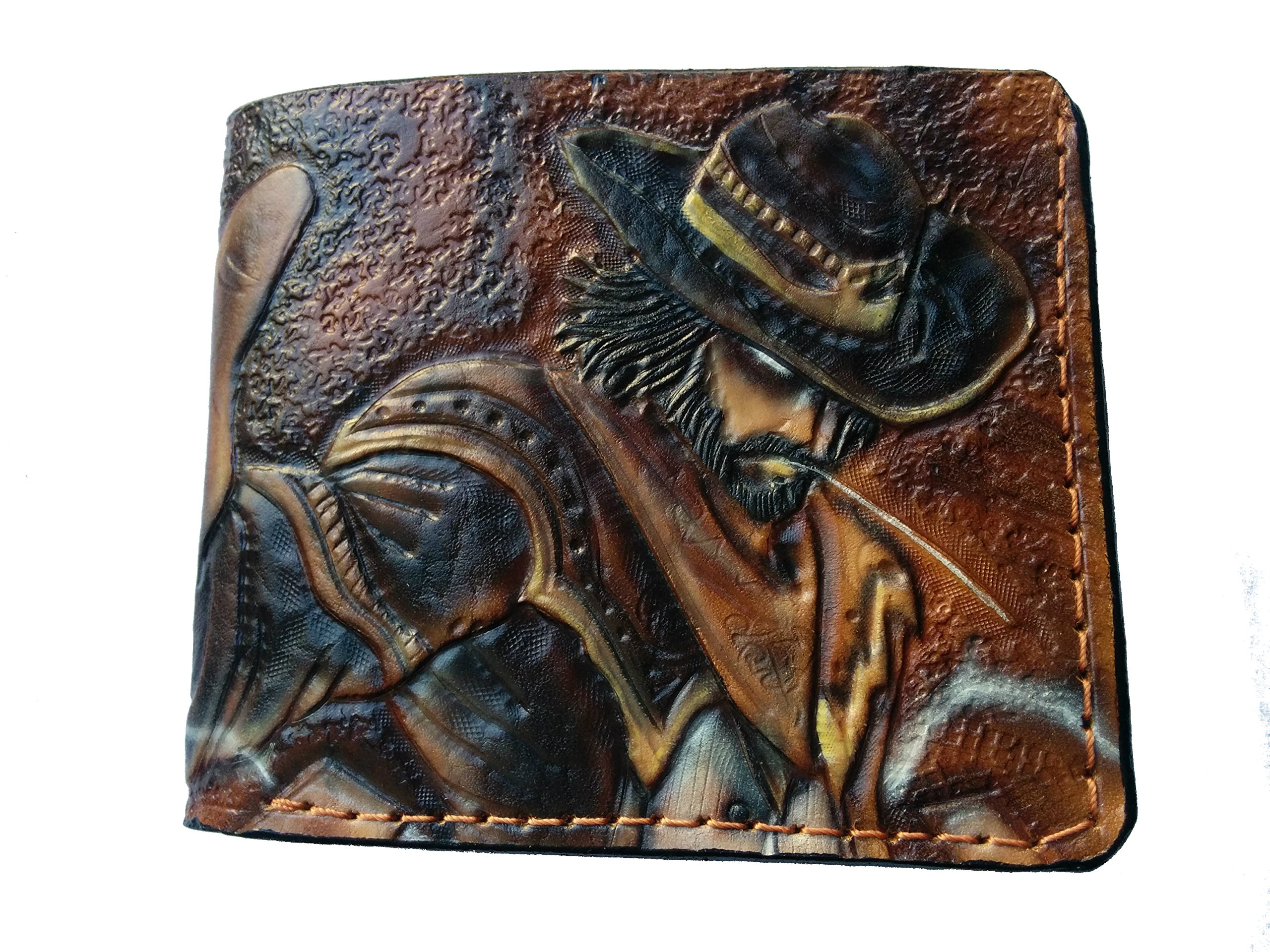 Men's 3D Genuine Leather Wallet, Hand-Carved, Hand-Painted, Leather Carving, Custom wallet, Personalized wallet, League of Legends, Twisted Fate, The Card Master, Cowboy