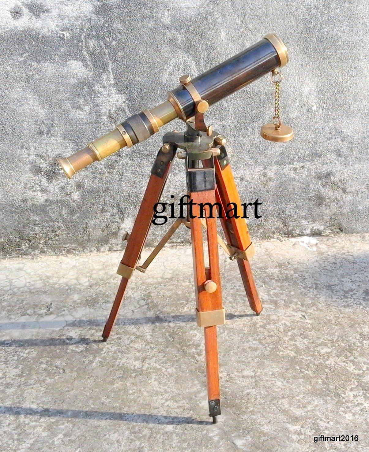 Arsh Nautical Marine Navy Nautical Brass Telescope with Tripod Stand Handmade Vintage Spyglass B by Arsh Nautical
