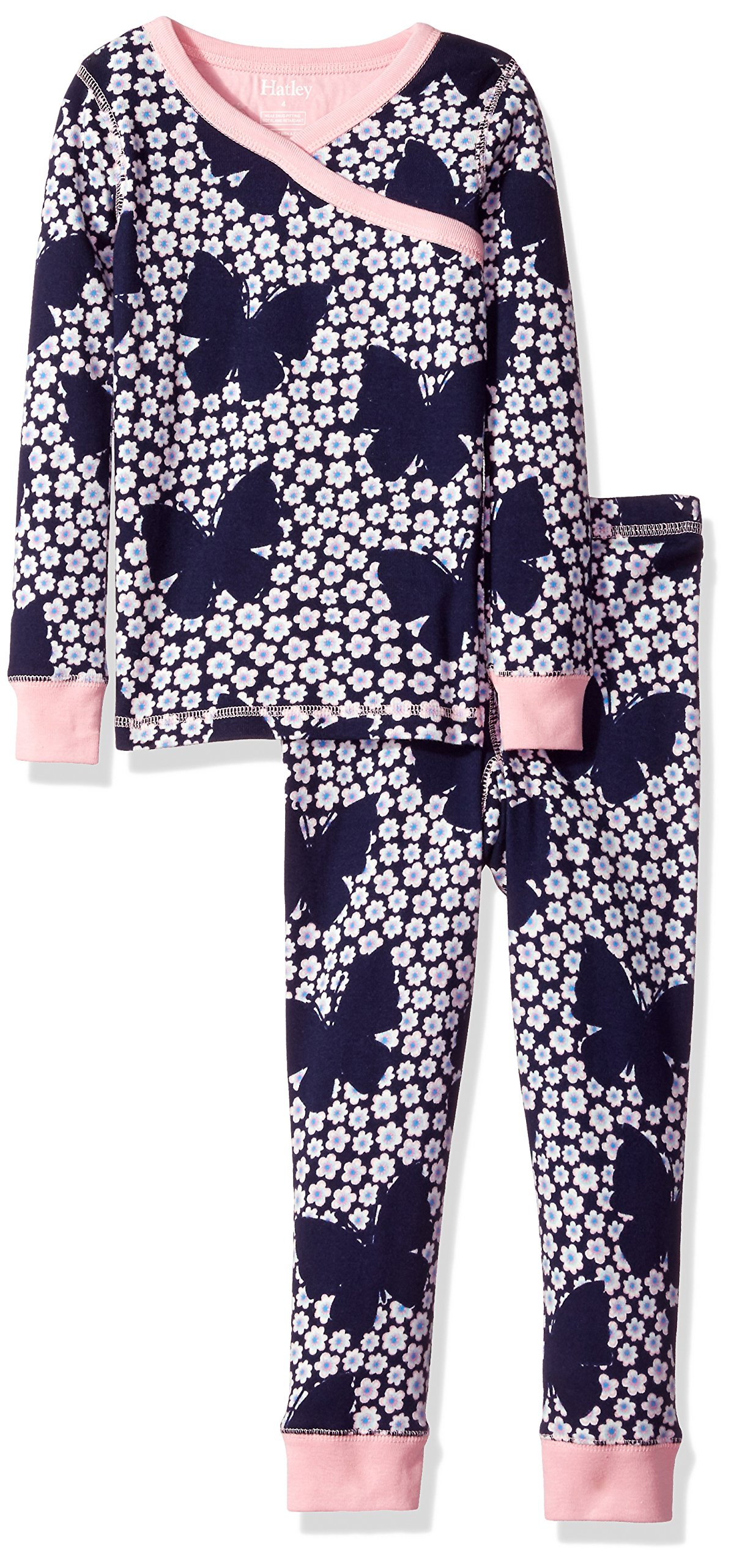 Hatley Little Girls' Organic Cotton Long Sleeve Printed Pajama Sets, Butterflies and Buds, 4 Years