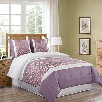 couvre lit matelassé 2 personnes Cflagrant® Couvre lit Matelassé 2 personnes Rose Blanc et Lilas  couvre lit matelassé 2 personnes