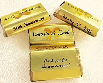 Attractive 180 GOLD FOIL 50th, 60th, 70th Etc... WEDDING ANNIVERSARY Candy Wrappers