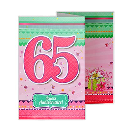 afie 882139 a tarjeta 3 Volets cumpleaños 65 años: Amazon.es ...