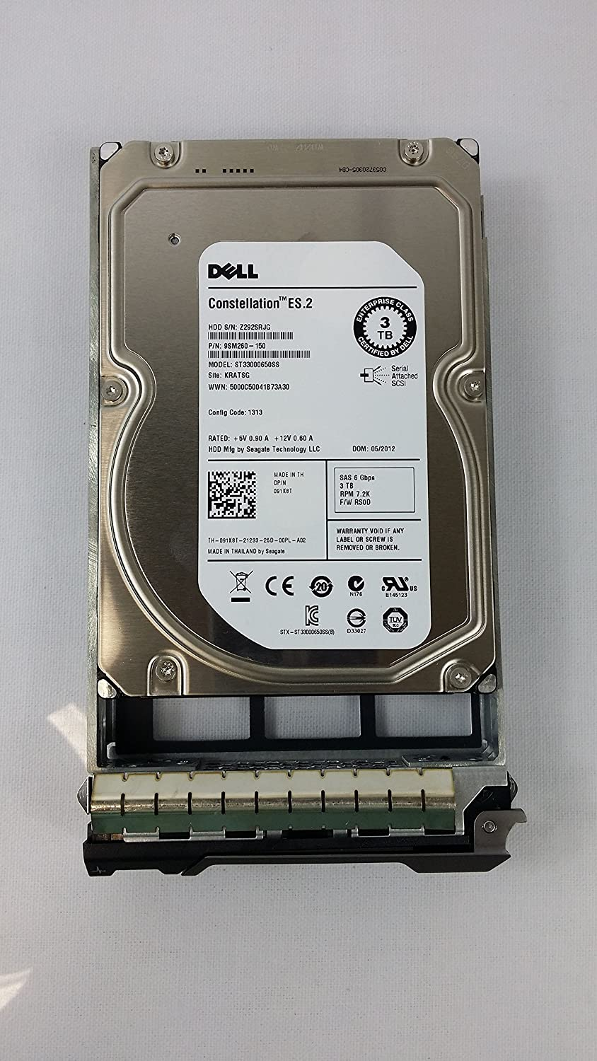 "Dell - 3TB 7.2K RPM 6Gb/s 3.5"" SAS HD -Mfg # 91K8T (Comes with drives & tray)"
