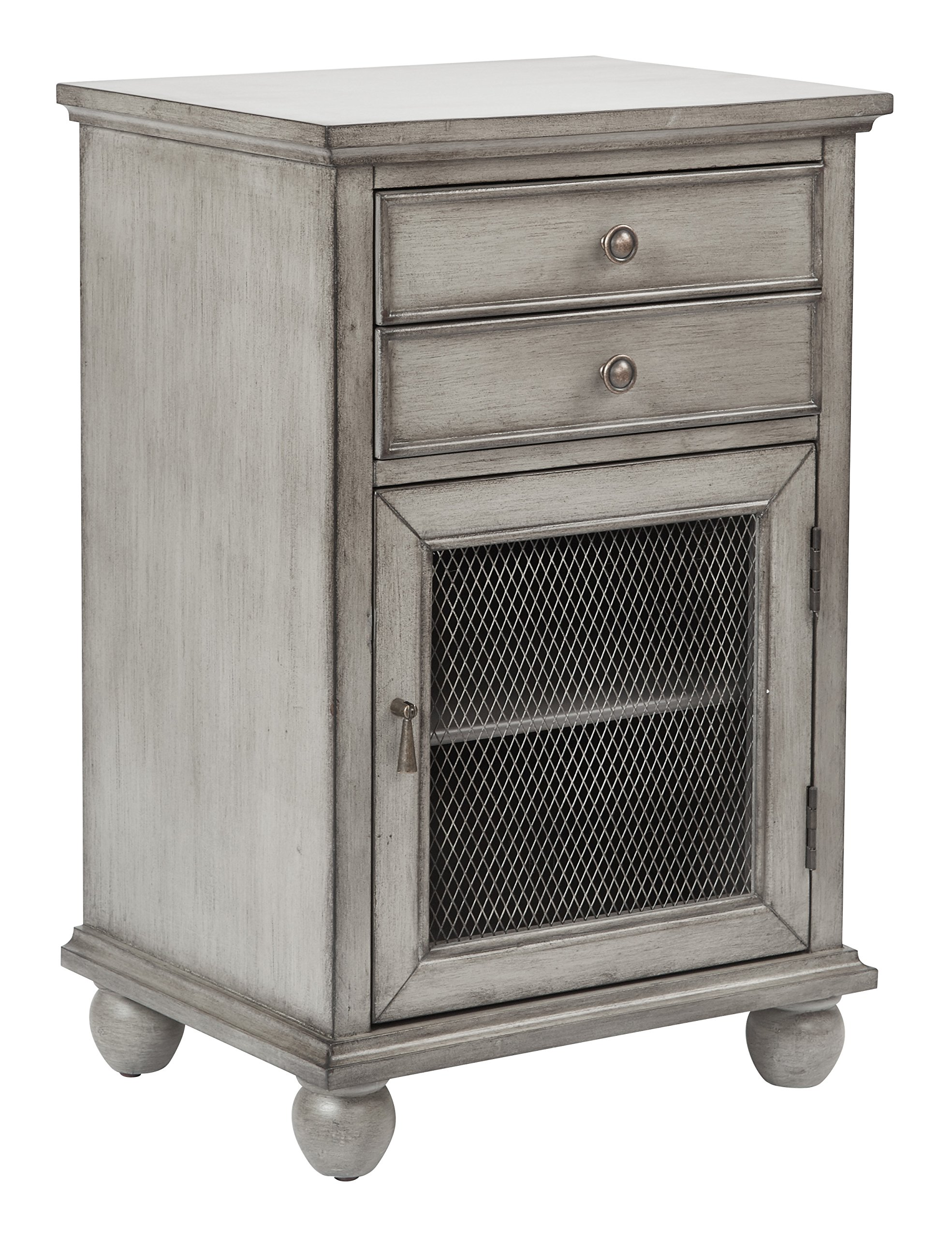 INSPIRED by Bassett Alton Hand Painted Storage Cabinet, Antique Ash Grey