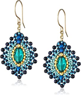 product image for Miguel Ases Blue Gold Stone Lotus Earrings
