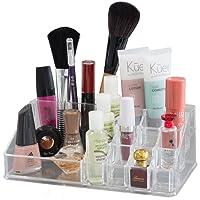 Oxid7® Organizer für Kosmetik Acryl | Aufbewahrungsbox für Make Up und Schmuck | Schmuckkästchen | Schubladenbox Schminke - 18,6x24x15 cm - 16 Fächer mit 4/6 Schubladen