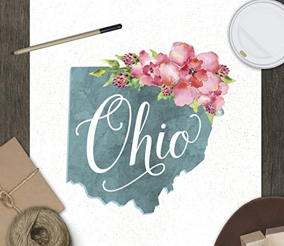 Amazon.com: Ohio Art Print // State Watercolor Floral Typography ...