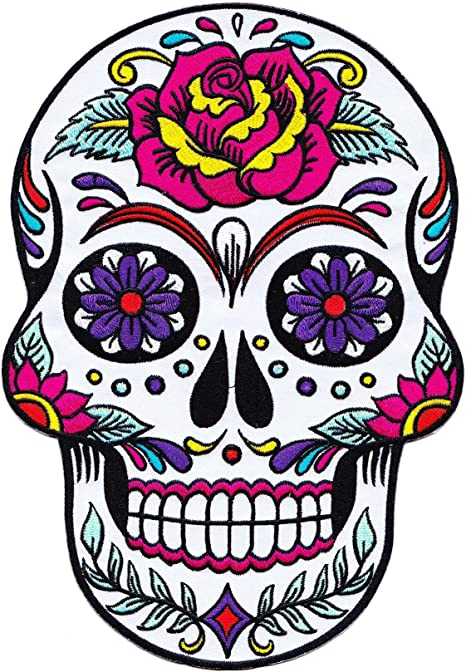 Ecusson brodé Têtes de mort /& rose skulls iron on embroidered patch 10 cm