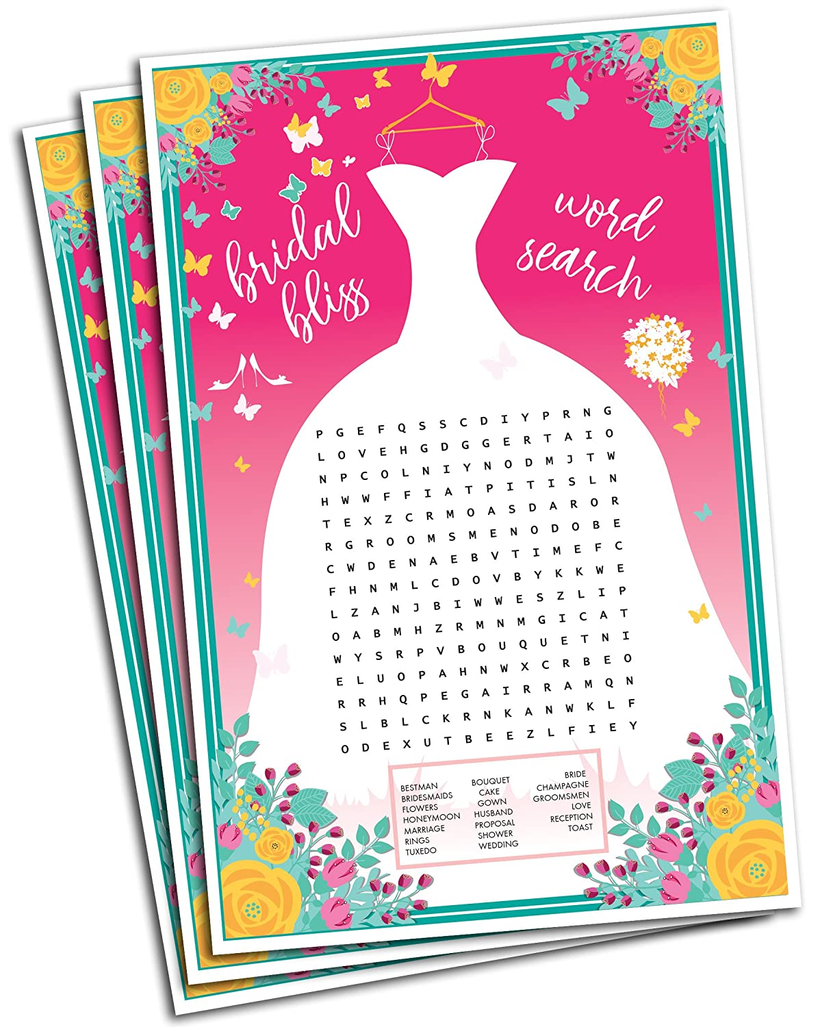 Amazon.com: Wedding Word Search Game - Bridal Shower Games - 50 ...