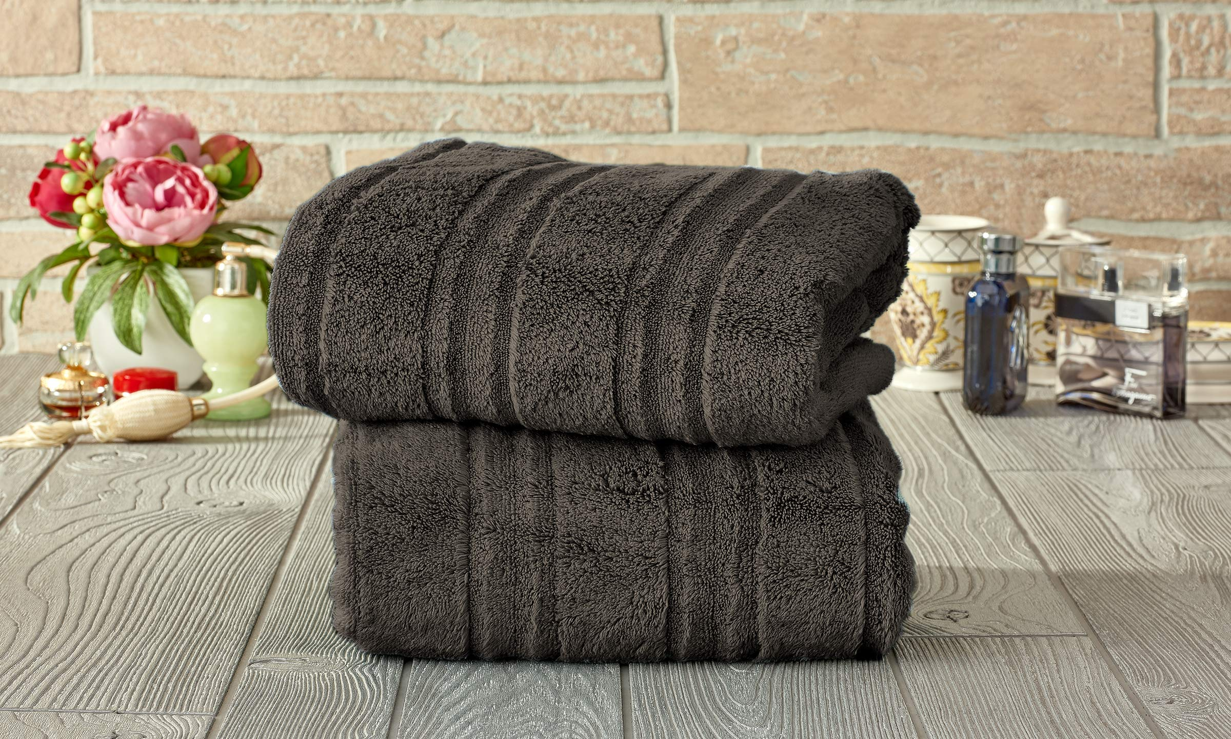 Set of 2 Microcotton 100% Cotton Zero-Twist Extra Plush Oversized Bath Towels - Fade-Resistant Egyptian Cotton Hotel Quality, Luxury Super Soft Highly Absorbent Bathroom Towel 30'' x 60'' (Charcoal)