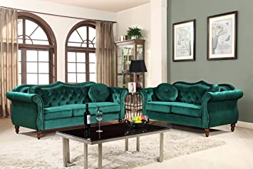 Container Furniture Direct S5367-2PC Carbon Velvet Upholstered Classic  Chesterfield Sofa Set, 79.5\