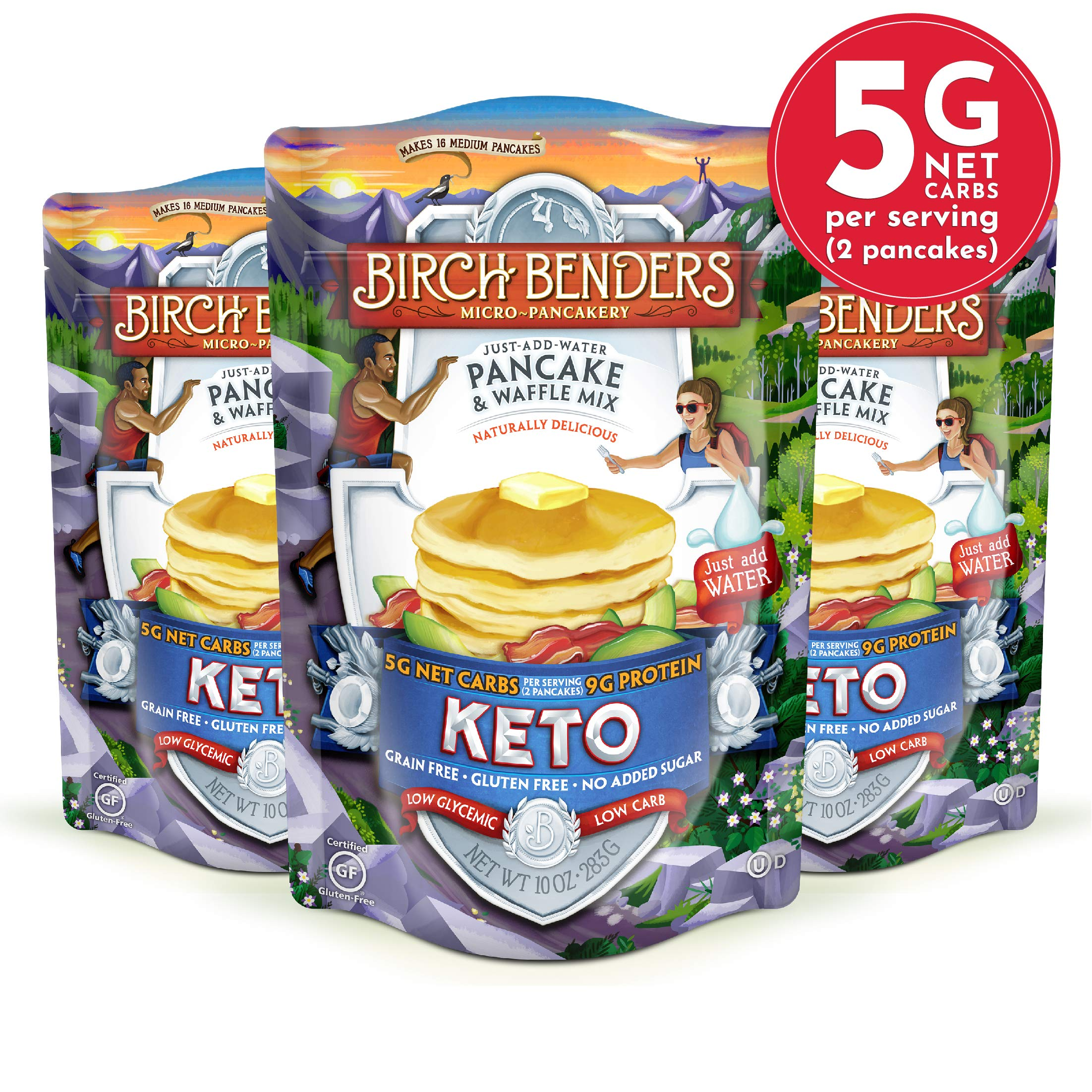 Keto Pancake & Waffle Mix by Birch Benders, Low-Carb, High Protein, Grain-free, Gluten-free, Low Glycemic, Keto-Friendly, Made with Almond, Coconut & Cassava Flour, 3 Pack (10oz each) by Birch Benders