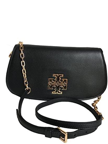 d33c2dc9e9731d Buy Tory Burch Leather Britten Clutch Chain Crossbody - Black Style No.  39055 Online at Low Prices in India - Amazon.in
