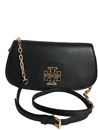 3159ba2b8516 Tory Burch Leather Britten Clutch Chain Crossbody - Black 8095  Handbags   Amazon.com