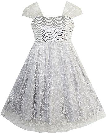 de79f985aaf2ed Sunboree Mädchen Kleid Pailletten Masche Hochzeit Tüll Silber Grau ...