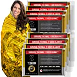 """TEBRION 8 Packs Extra Large - 63"""" x 82"""" Double Sided Emergency Thermal Foil Authentic Mylar Space Blankets Designed for NASA - Perfect for Bug Out Bag, Survival Kit, Camping, Auto, Outdoors"""