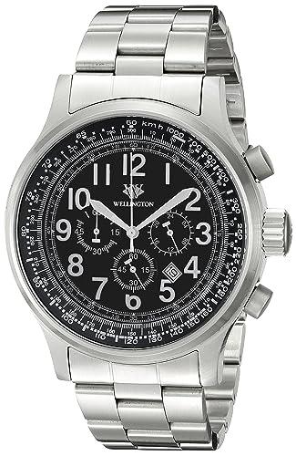 Wellington Hombre Reloj de Cuarzo con cronógrafo y Negro Pulsera de Acero Inoxidable WN302 - 121: Amazon.es: Relojes