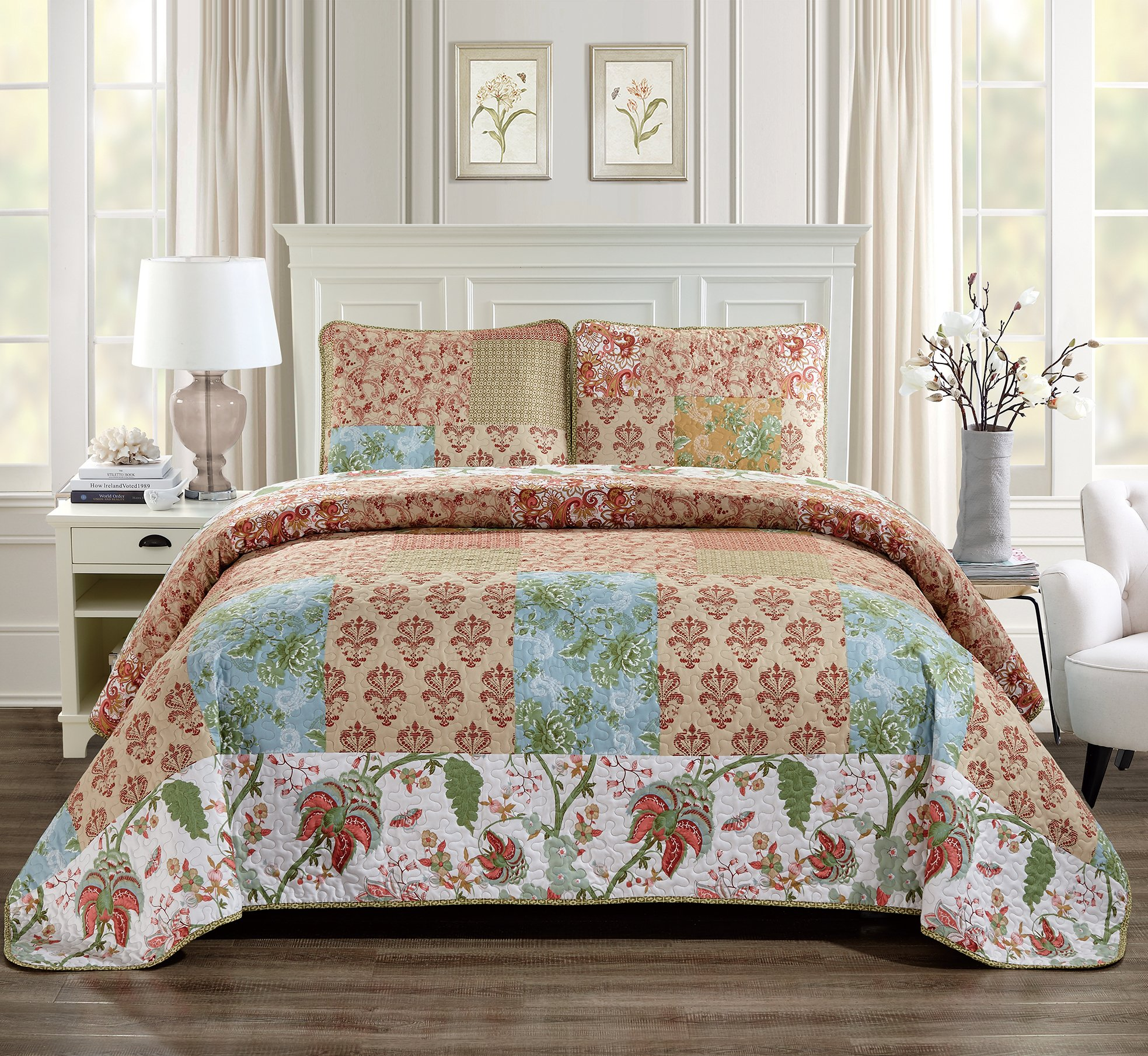 King/California King 3pc Quilted Bedspread Set Oversized Coverlet Floral Patchwork Beige Rust Light Blue Green White New