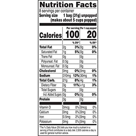 ACT II 100 Calorie Butter Microwave Popcorn, 8-Count 1 1-oz  Mini Bags  (Pack of 6)