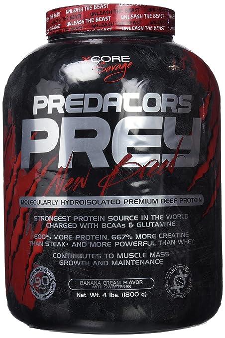Predators Prey Pure Beef Protein Powder 1800 g: Sabor a crema de plátano – Suplemento de carne hidroaislado molecularmente de primera calidad con 36 g ...