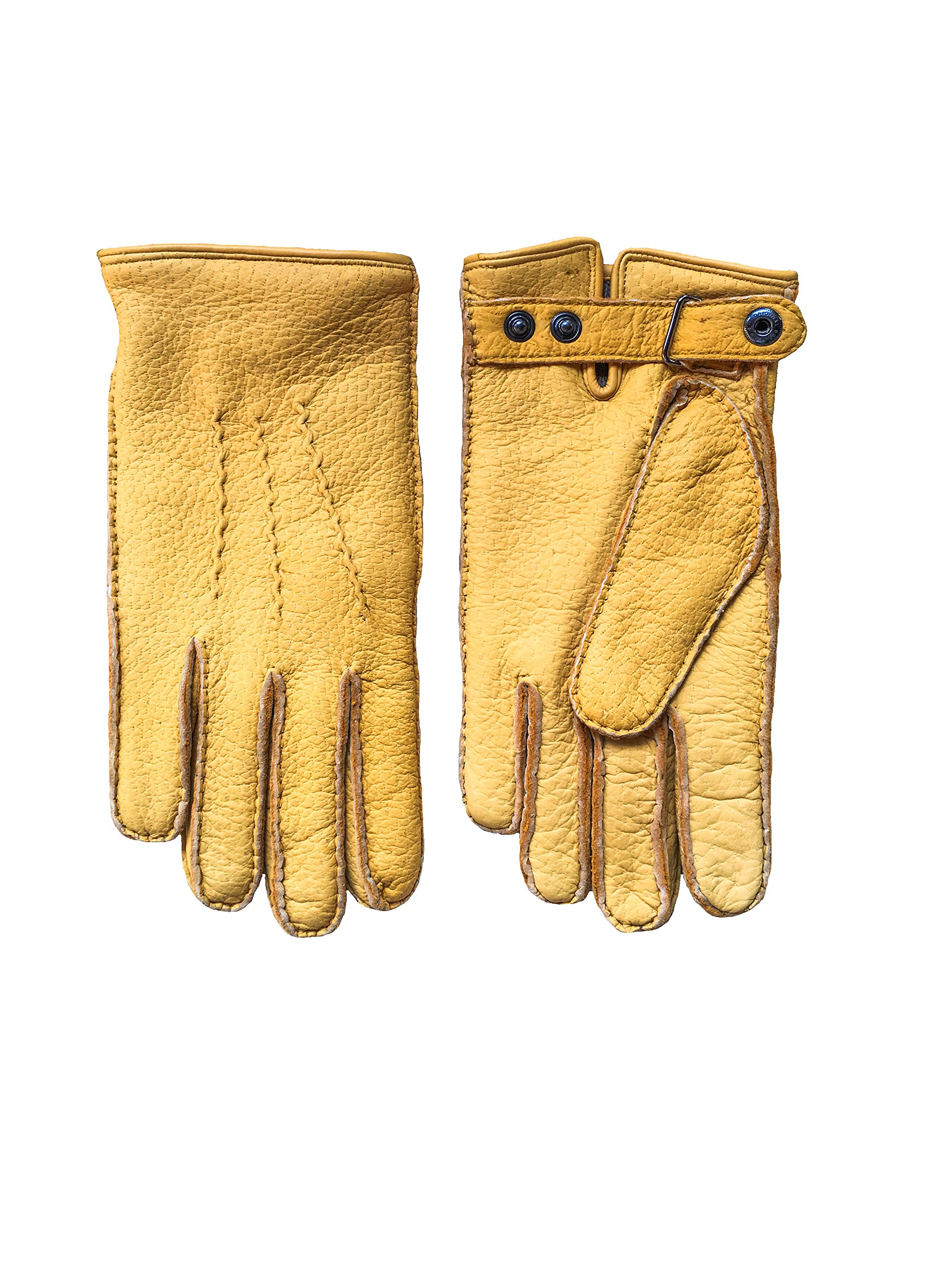 Men's warm peccary winter leather gloves with button closure in color yellow by Hungant (8.5, Yellow)
