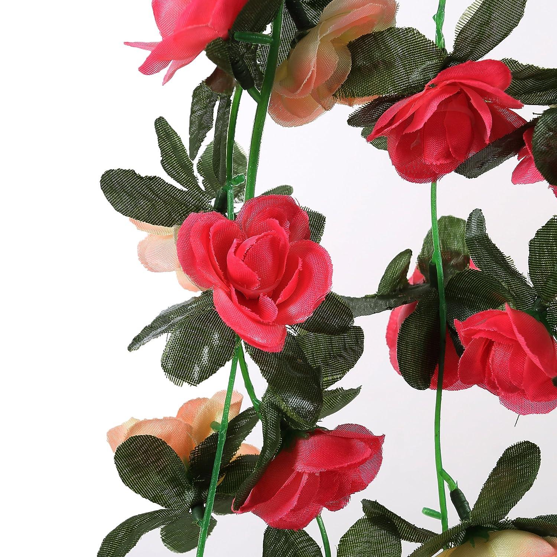 Felice Arts 5pcs Artificial Flowers 41ft Fake Plastic Fabric Silk