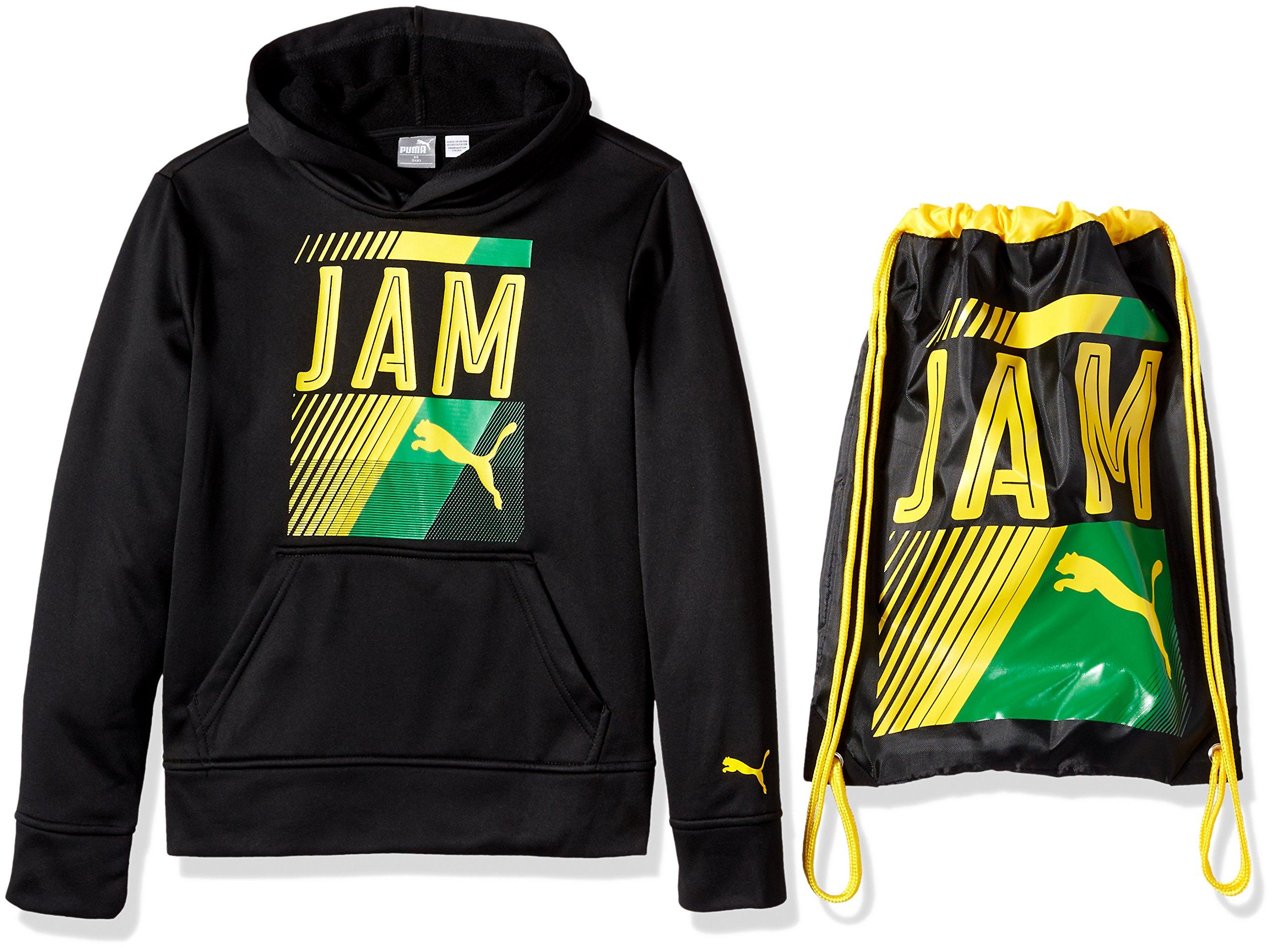 PUMA Big Boys' Jamaica Olympic Hoodie and Carry Sack, Black, Large (14/16)