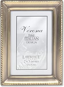 Lawrence Frames Antique Gold Brass 2x3 Picture Frame - Beaded Edge Design