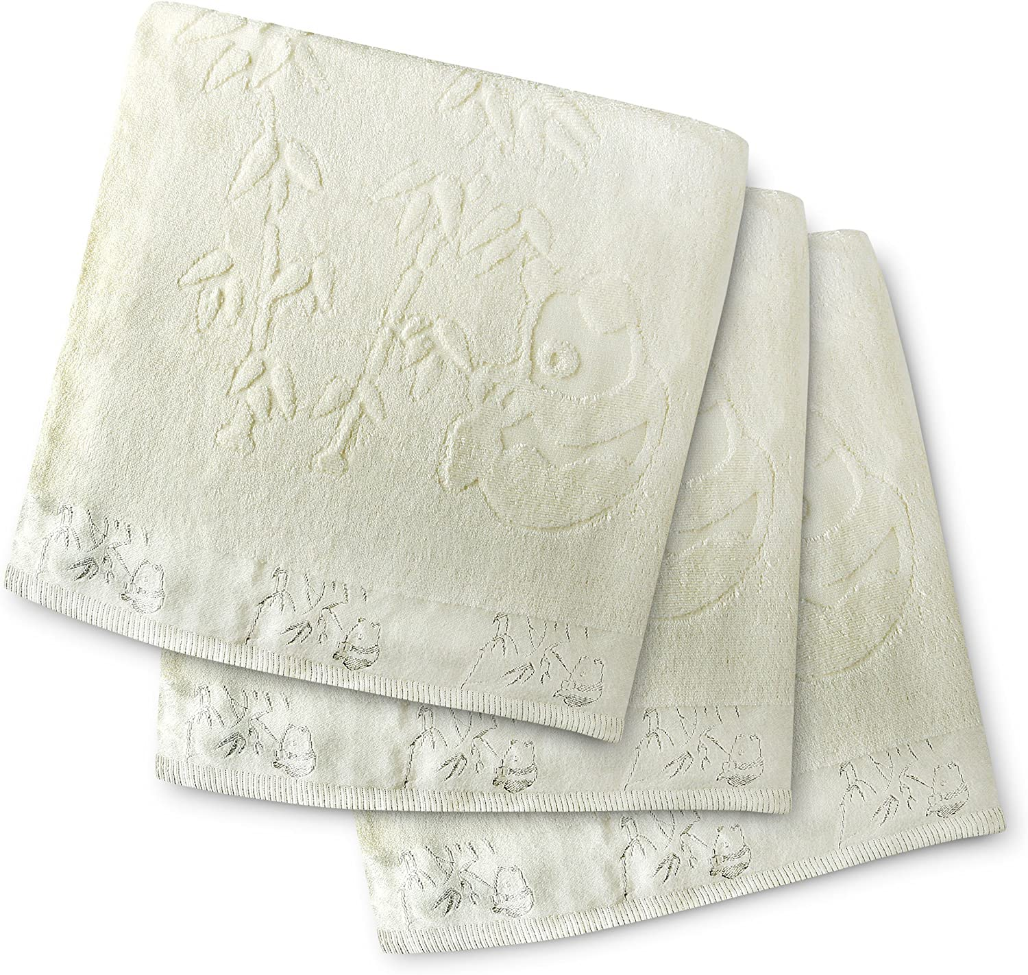 28 inch X 55 inch Off-White Soft Antifungal Hypoallergenic Absorbent Bath Towels Beautiful /& Unique 3 pc set Brooklyn Bamboo