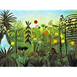 """ODSAN Exotic Landscape With Lion And Lioness In Africa - By Henri Rousseau - Canvas Prints 24"""" by 18"""" Unframed"""
