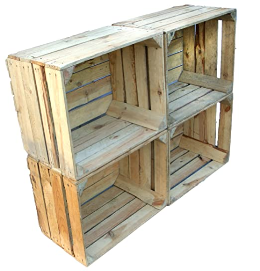 Amazon.com: 4 pcs Hand Fruit Crate Johanna + + + Natur/Shabby/Vintage by Kistenkolli Altes Land: Beauty