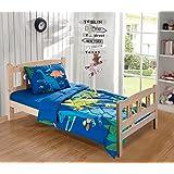 MK Collection Toddler Bed Comforter Set Dinosaurs Blue Green Orange Red White New # Dino White