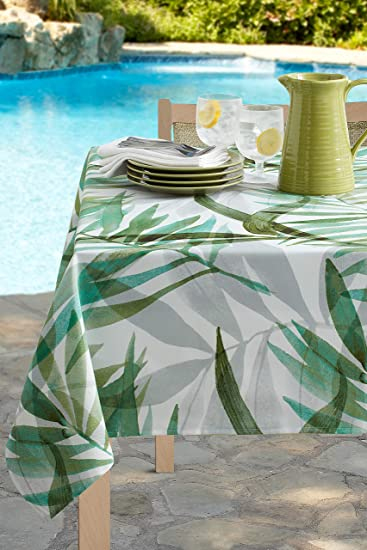 60-by-104 Oblong Rectangular Benson Mills 183467 Spring Summer Limoncello Indoor Outdoor Spillproof Tablecloth