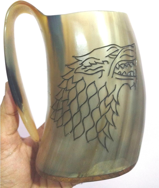 Viking Drinking Beer Mug Wine Cup Giant Tankard Natural Game Thrones Horn Pair