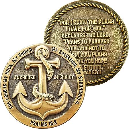 Anclado en Cristo, el Señor es mi Roca, conozco los Planes Que Tengo para ti, Moneda de desafío chapada en Oro Antiguo, Jeremías 29:11 Regalo de ...