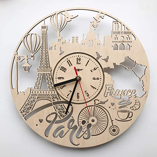 Amazon Com France Paris Wall Clock Made Of Wood Wood Home Decor Great Wall Art For Living Room Bedroom Kitchen For Men Women Kids Girlfriend Boyfriend Silent Quartz Mechanism Home