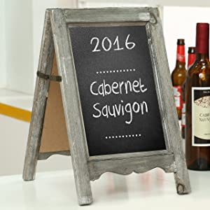 MyGift Small Wood A-Frame Double-Sided Chalkboard Sign, Brown Table Top Rustic Message Board