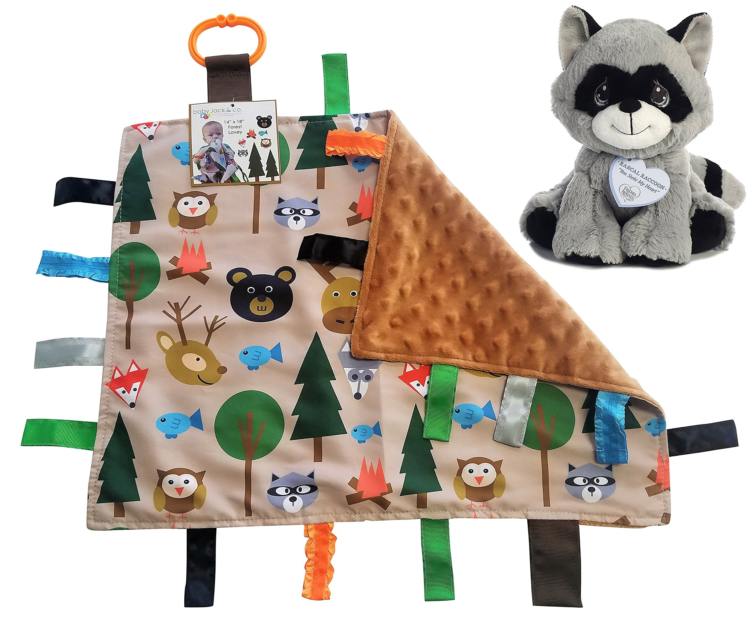 Lovey Baby Tag Minky Dot Blanket Bundle with Precious Moments Plush (Forest / Rascal Raccoon)