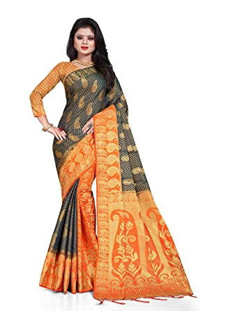 4cc4ab10a9 Mohit Creations Latest Banarasi Silk South Indian Saree with Golden Dual  Border (Black)