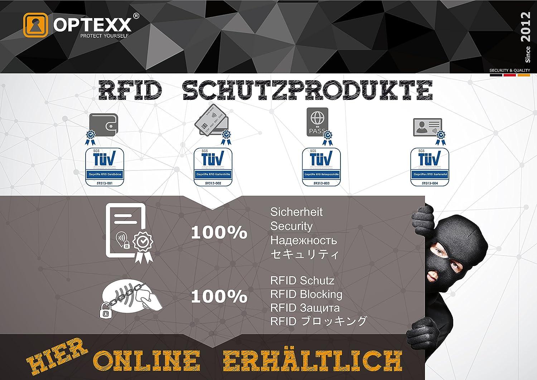 OPTEXX w5112015/Carte Etui RFID pour Cartes de Cr/édit Homme//Femme avec protection certifi/ée T/ÜV et zerifiziert