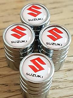 SUZUKI rouge blanc chrome haut luxe Bouchons de valve enjoliveurs EXCLUSIVE  de nous tous modèles CLERIO 8cf2adfb400