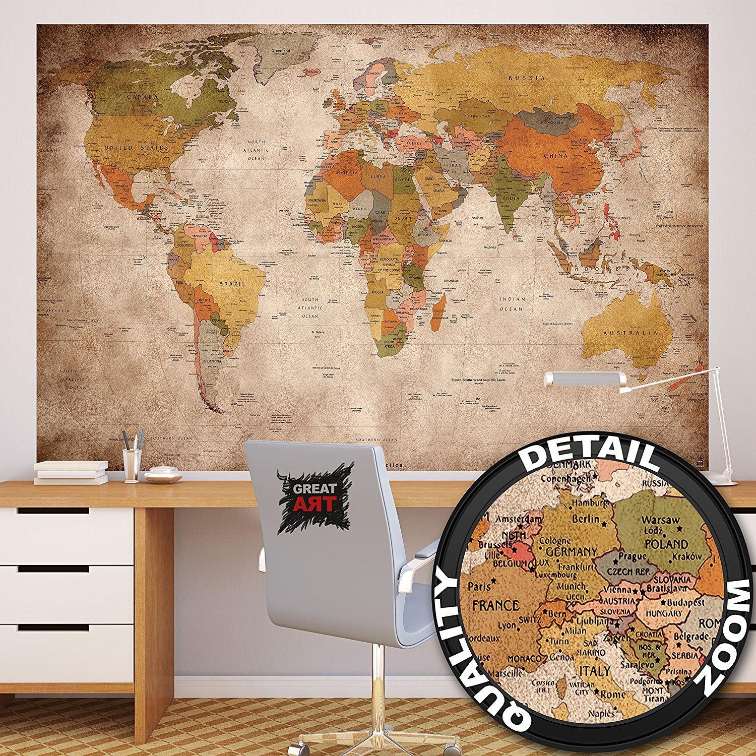 Vintage world map amazon great art photo wallpaper vintage world map quirky retro wall picture xxl wall map 210 gumiabroncs Gallery