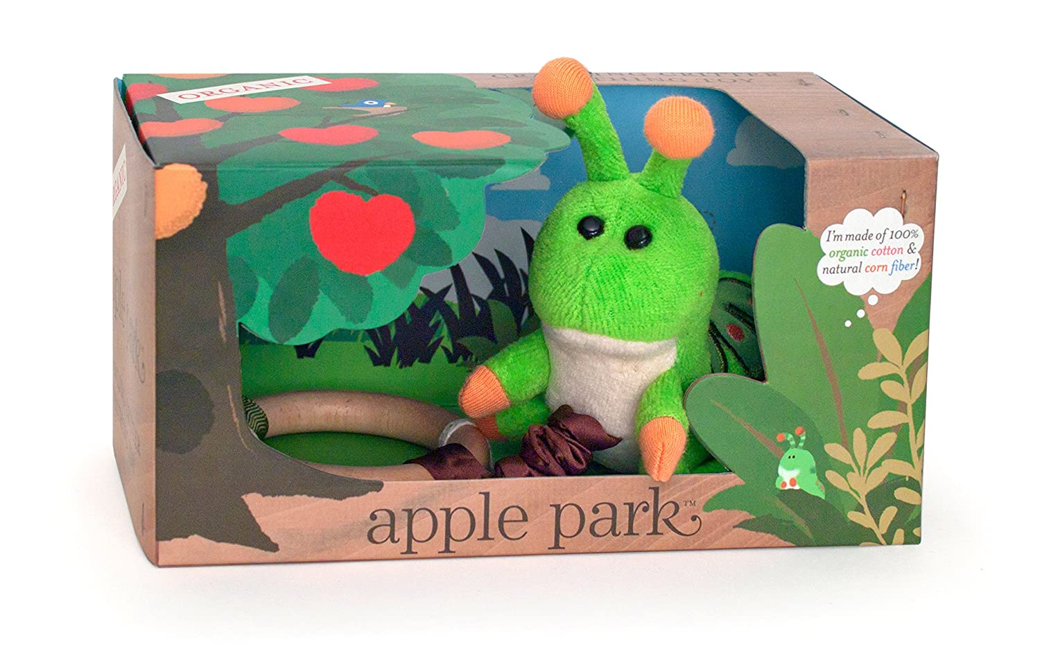 Apple Park Crawling Caterpillar Teething Baby Toy - Hypoallergenic, 100% Organic Cotton, Bamboo Ring