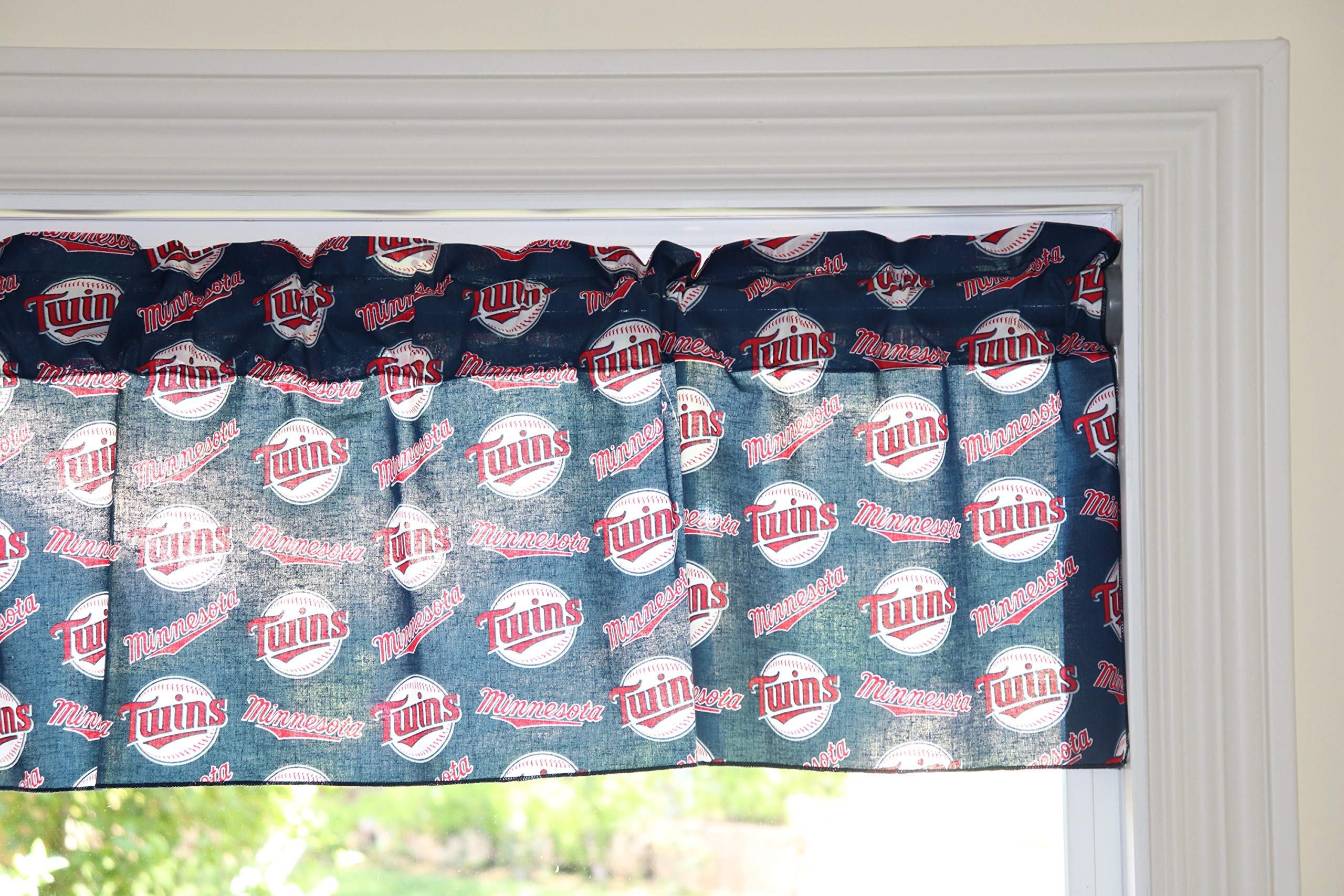 lovemyfabric Baseball Cotton Window Valance 100% Cotton Print MLB Sports Team Minnesota Twins Events Kitchen Dining Room Bedroom Window Decor (58'' Wide) (28'' Tall) by lovemyfabric