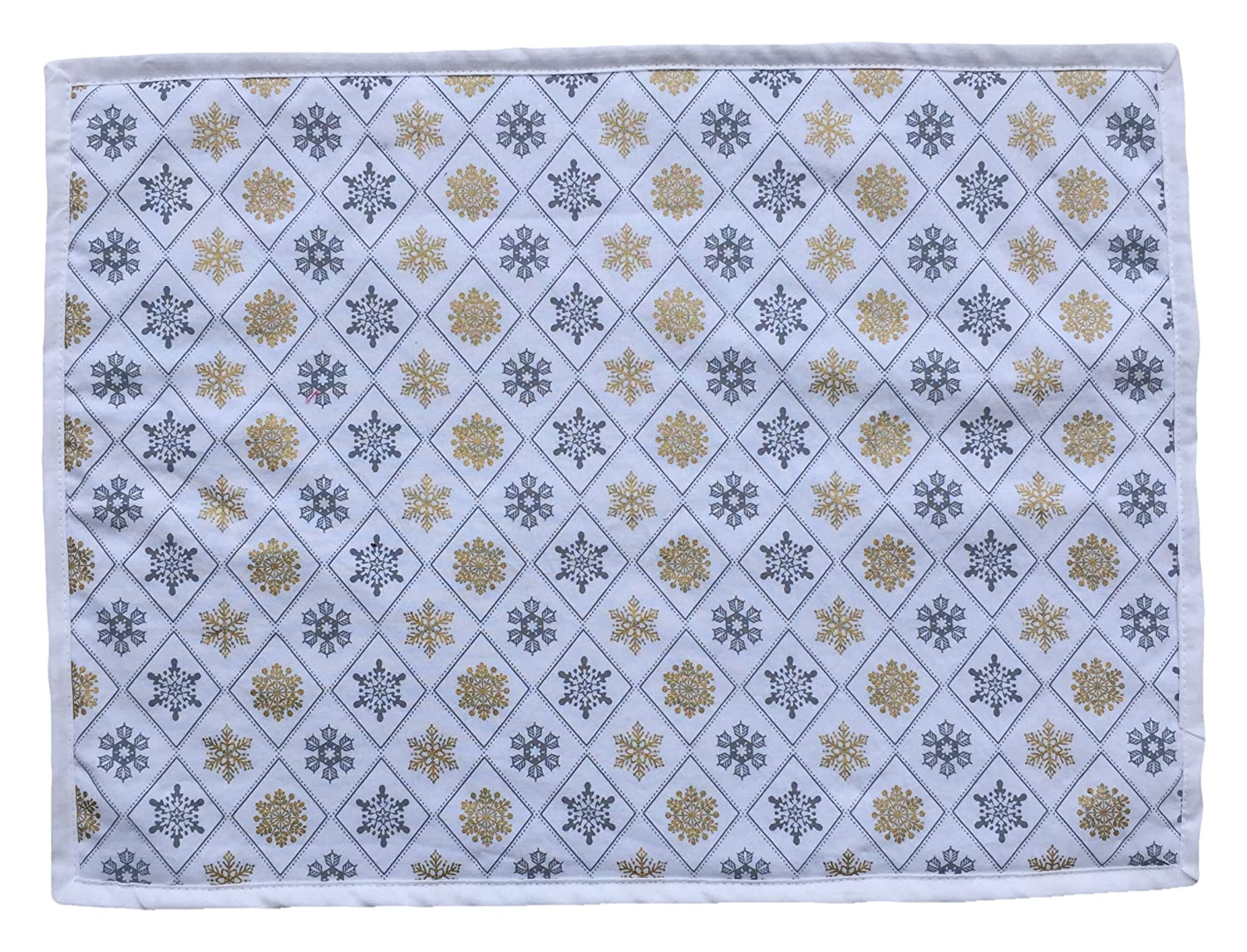 14 x18 Christmas//Winter Placemat Reversible Place Mats Metalic Snowflakes on White Set of 2