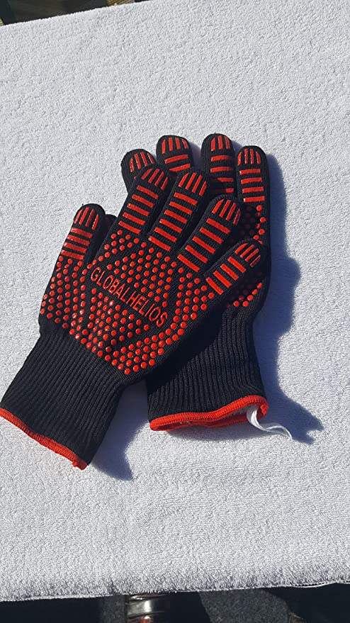 red grill gloves oven gloves fireplace gloves Globalhelios BBQ oven gloves heat resistant up to 500/°C extra long arm protection 923/°F oven gloves comfortable heat protection EN407