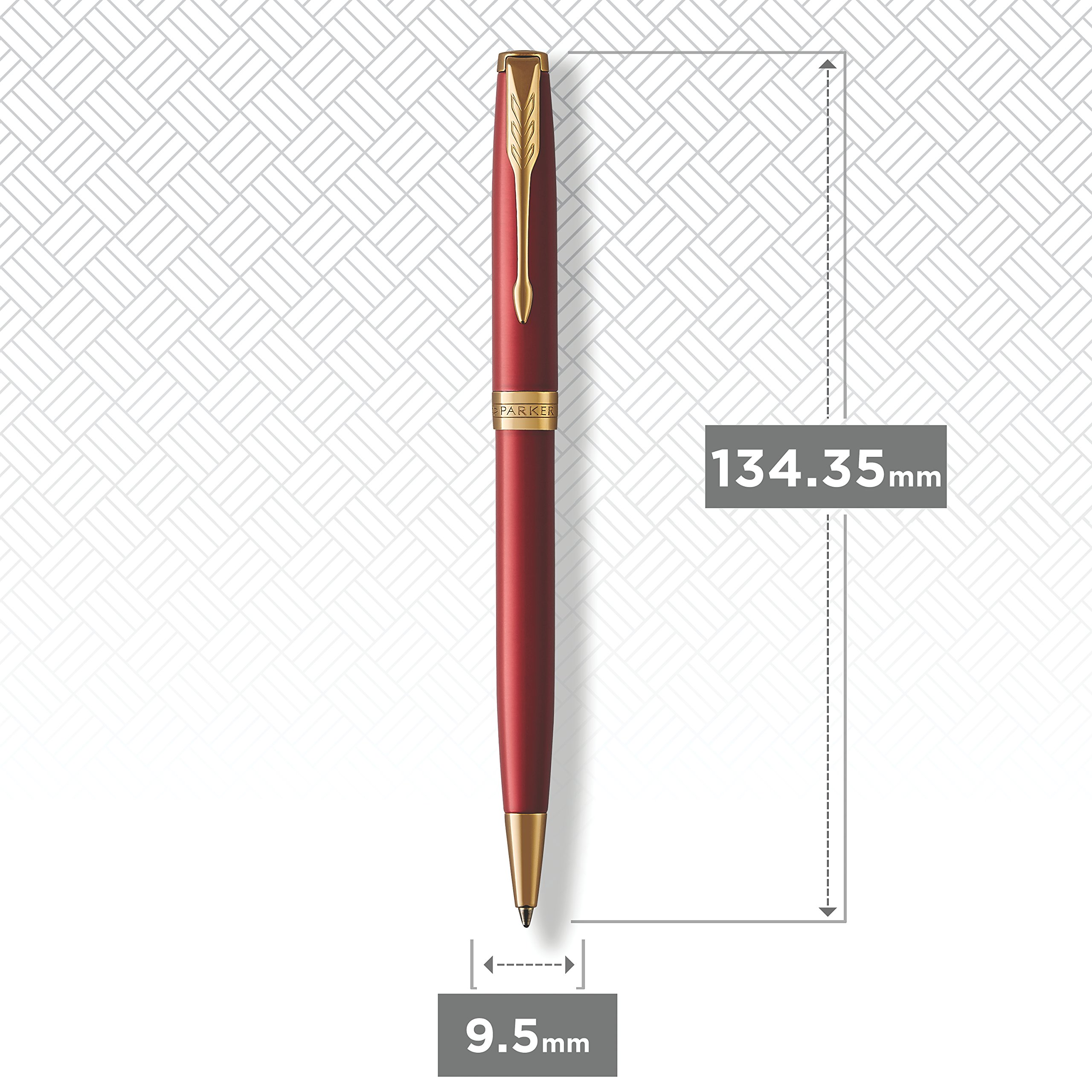 PARKER Sonnet Ballpoint Pen, Red Lacquer with Gold Trim, Medium Point Black Ink (1931476) by Parker (Image #4)